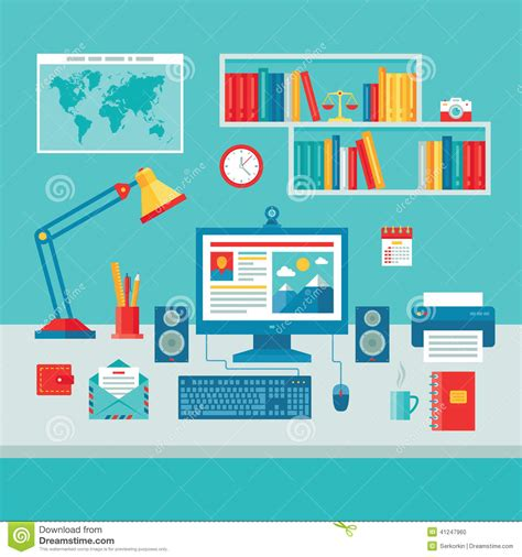 graphic design bureau home business office workplace with computer monitor stock