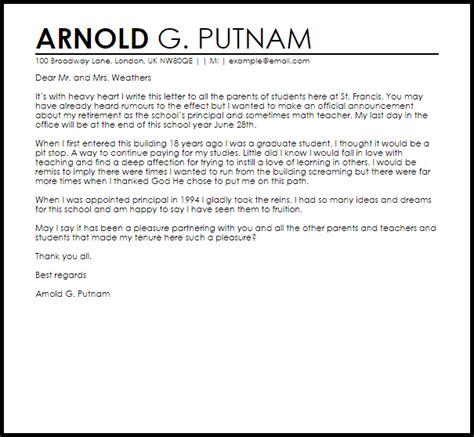 principal resignation letter  parents livecareer