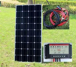 100w Pv Solar Panel With 10a 12v    24v Battery Charger