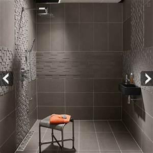 Petite Salle De Bain Avec Douche Italienne : carrelage gris pour douche italienne d 39 une petite salle de bain ~ Carolinahurricanesstore.com Idées de Décoration