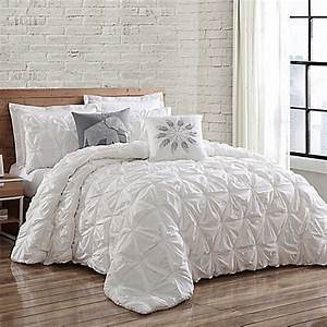 buy brooklyn loom jackson pleated king duvet set in white With brooklyn bedding king