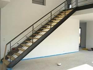 Escalier Droit Bois : escalier bois metal ~ Premium-room.com Idées de Décoration