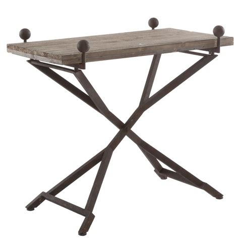 french country reclaimed wood folding wrought iron side table l kathy kuo home