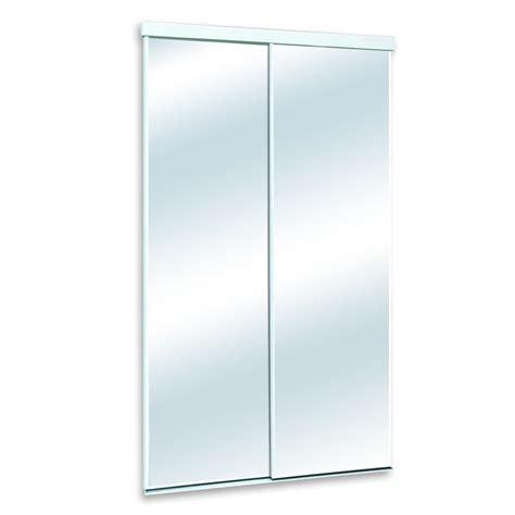 white mirrored sliding door common 48 in x 80 in actual