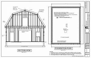 G440 28 U2032 X 36 U2032 X 10 U2032 Gambrel Barn Workshop Plans Blueprint