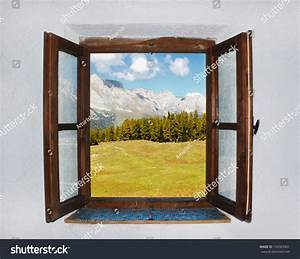 A Window With A Dark Wood Frame. The Window Is Open. Ridge ...
