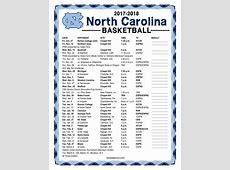 Printable 20172018 North Carolina Tarheels Basketball