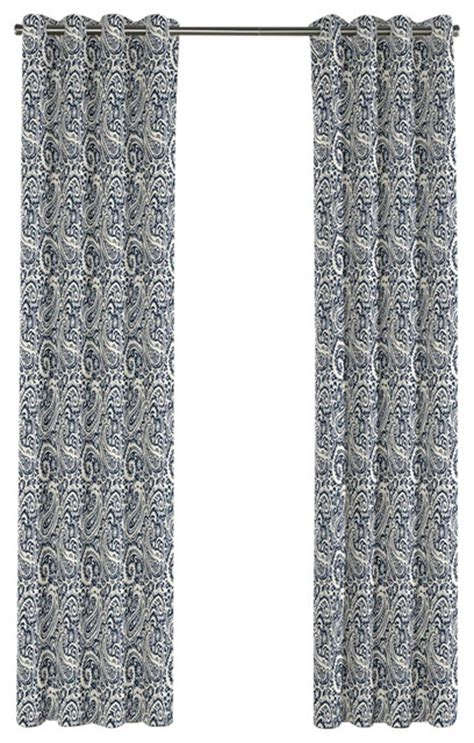 white and navy blue paisley grommet curtain single panel