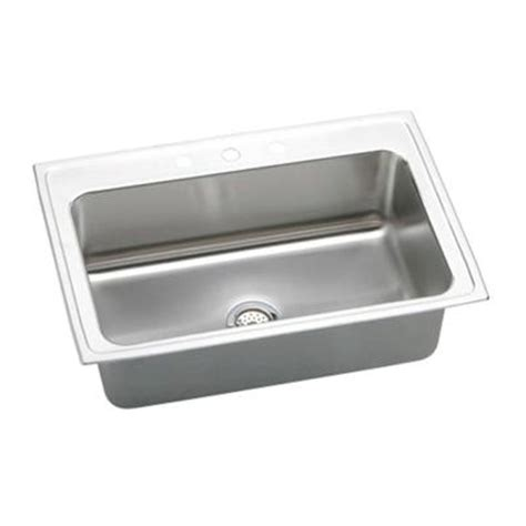 kitchen sink 33x22 single bowl elkay lustertone top mount stainless steel 33x22x10 1 8 in