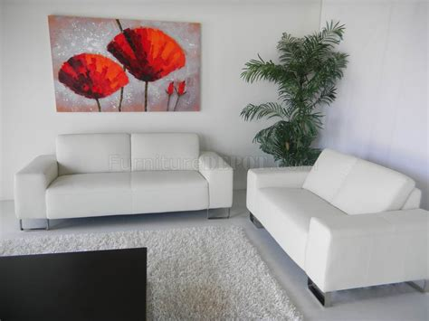 White Leather Modern Sofa Loveseat Set Woptional Items