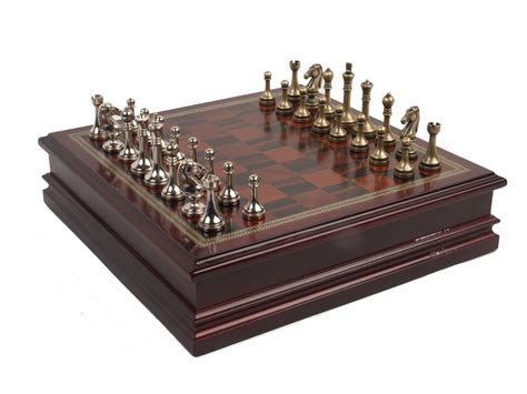 metal chess set  deluxe wood board  storage