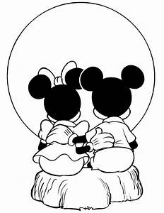 Mickey And Minnie Mouse Watching Sunset Coloring Page | H ...