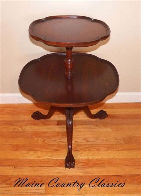 vintage claw foot table antique mahogany claw ball foot two tier tiered side
