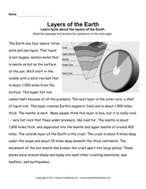 earth layers comprehension fourth grade earth layers reading comprehension worksheets