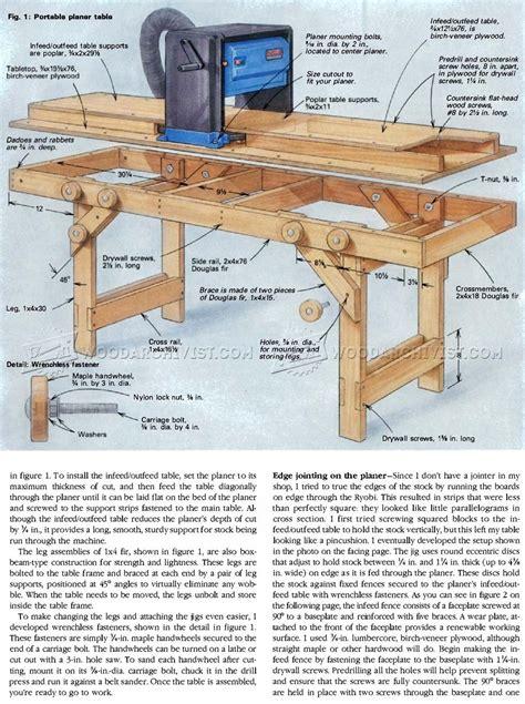 portable planer table plans woodarchivist