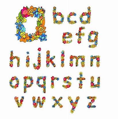 Alphabet Letters Flowers Vector Colored Flower Dreamstime