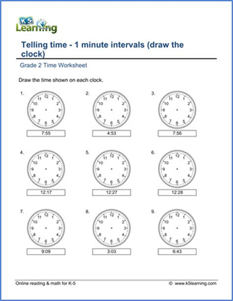 grade 2 telling time worksheets 1 minute intervals draw