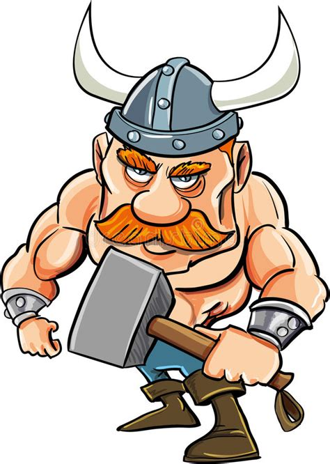 cartoon viking with a big hammer stock vector