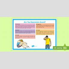 Are You Depression Aware? Adult Guidance A4 Display Poster