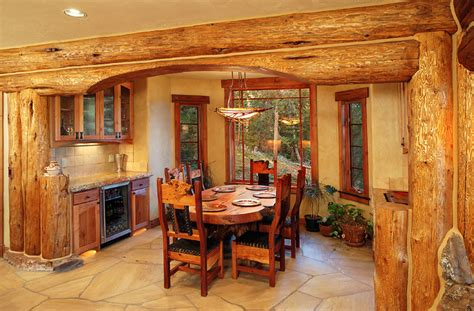 hybrid log house traditional dining room vancouver