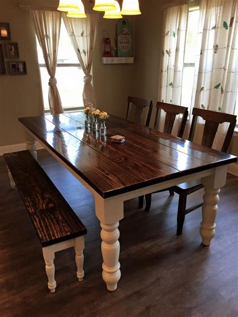 farmhouse kitchen table with bench 8 foot baluster table with a traditional