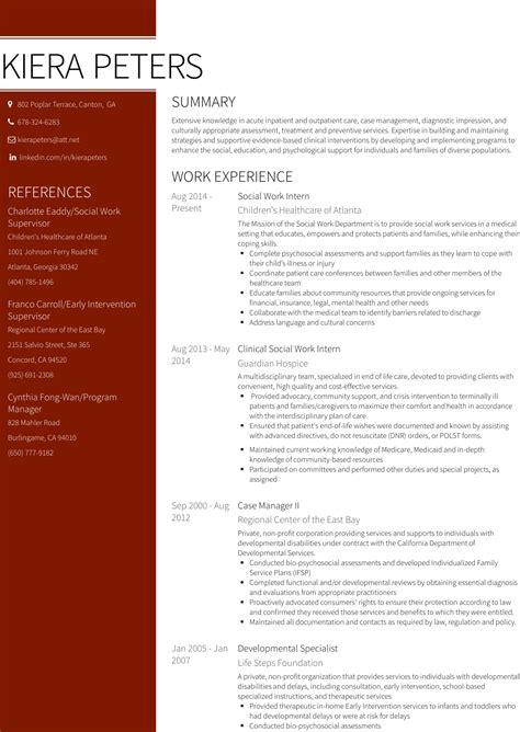 social work resume samples templates visualcv