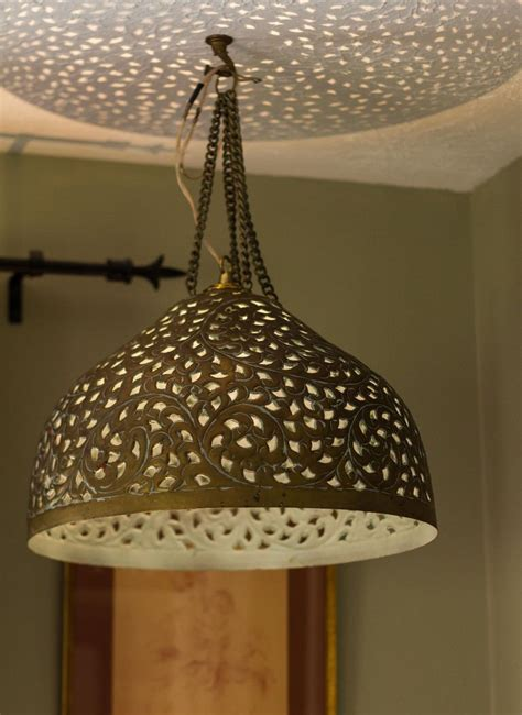 kasbah punched metal pendant light pre owned moroccan