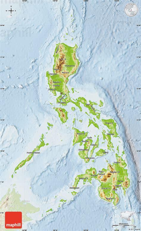 physical map  philippines lighten