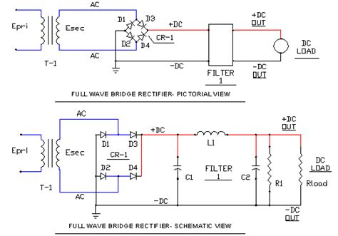 rectifier schematic  phase full wave ecn electrical