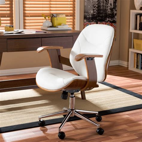white modern desk chair modern office chair leather faux contemporary executive