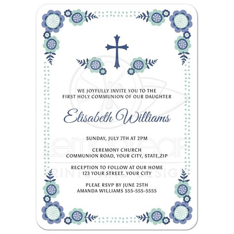 Blue bloom First Holy Communion invitation with cute