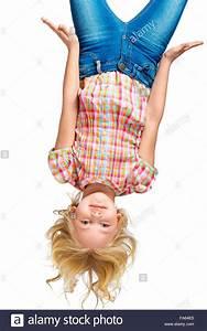 Beautiful, Little, Girl, Hanging, Upside, Down, Stock, Photo