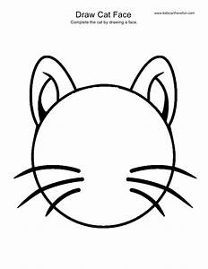 Draw Cat Face activity, more drawing pages of animals ...