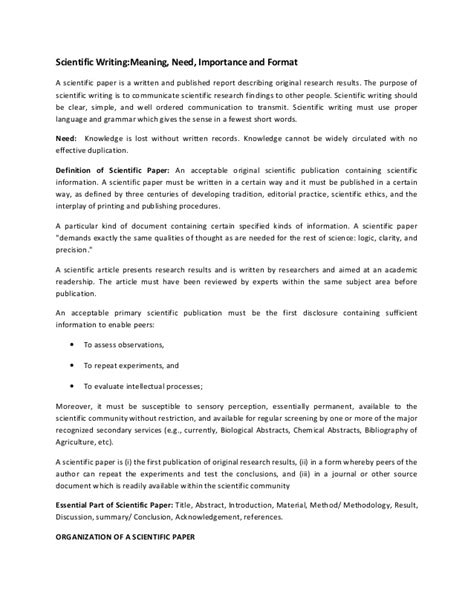 scientific paper template scientific writing meaning and need