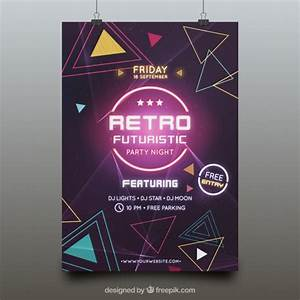Futuristic party poster template Vector | Free Download