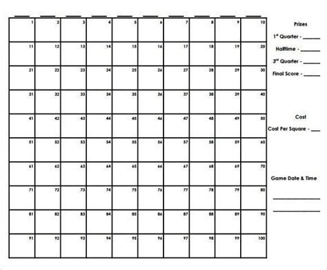 super bowl squares template excel infinite photoshots
