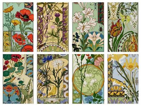 Set Of 8 Art Nouveau Floral Cross Stitch Patterns / Pdf