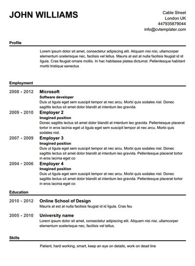 Free Printable Resume Templates by Completely Free Resume Builder Template
