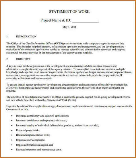 Contract Sow Template 5 statement of work template authorizationletters org