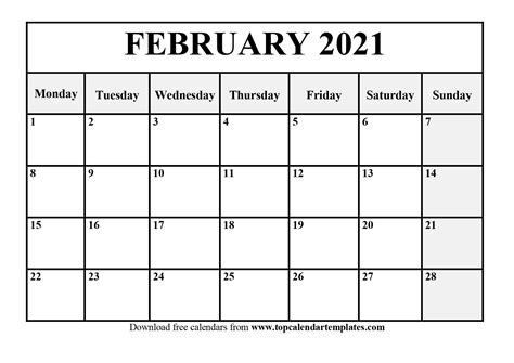 Each row (week).and 2 nails for hanging refills are available in the shop. February 2021 Calendar Template Editable - Free Fully ...