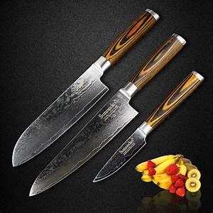 Sunnecko, 3pcs, Kitchen, Knife, Set, Japanese, Damascus, Steel, Sharp, Chef, Santoku, Paring, Knives, Color