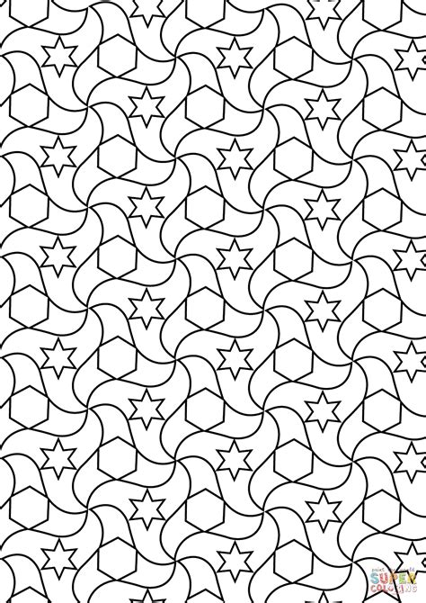 Kleurplaat Esher by Alhambra Tessellations Coloring Page Free Printable