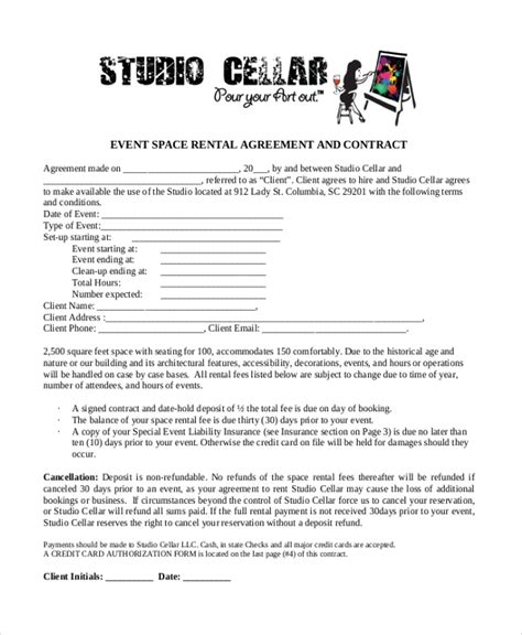 sample event agreement forms