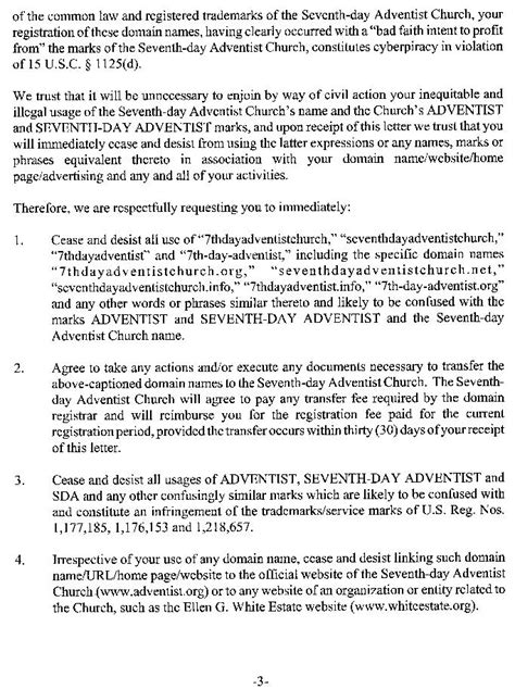 NEWSBREAK: Seventh-day Adventist Church Trademark Alert