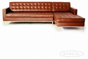 Kardiel mid century florence right sectional caramel for Florence modern sectional sofa