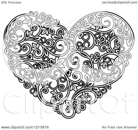 clipart   black  white vine floral heart royalty