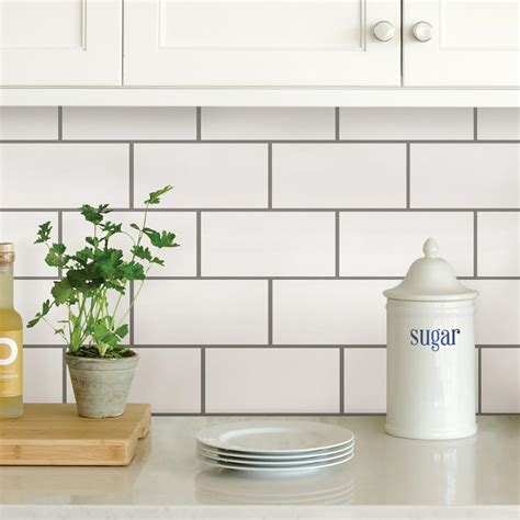 self stick backsplash tiles kitchen wallpops white subway peel stick backsplash tiles nh2363 7887