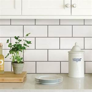 Wallpops white subway peel stick backsplash tiles nh2363 for Stick on backsplash white
