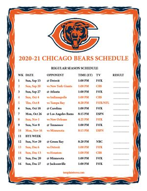 printable   chicago bears schedule