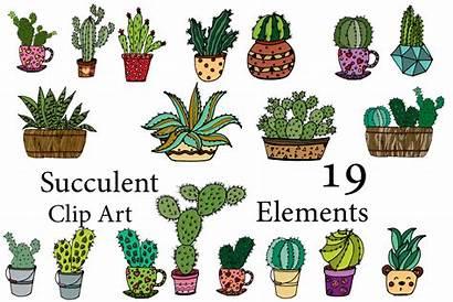 Cactus Succulent Clipart Doodle Line Vector Succulents